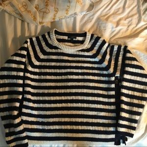 Chic, side-button striped sweater